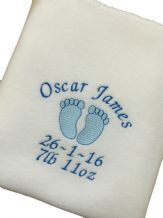 PERSONALISED BABY BLANKET Baby Feet Design Pink or Blue